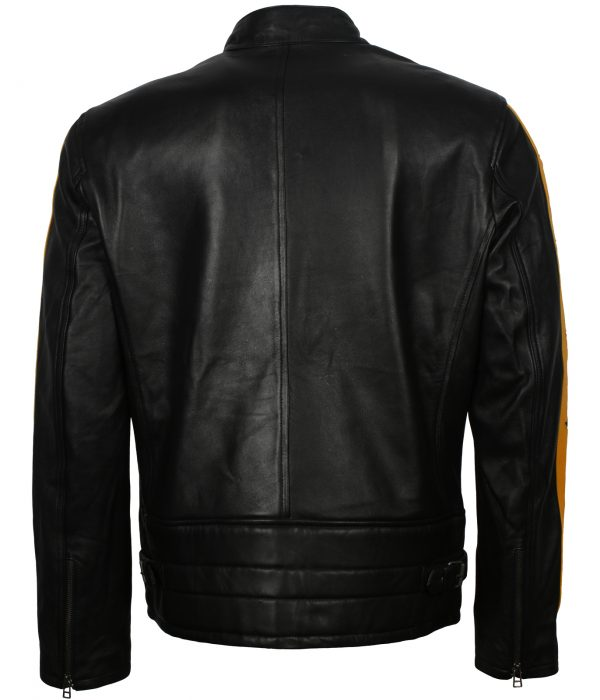 Black Leather Biker Jacket with Yellow Stripes