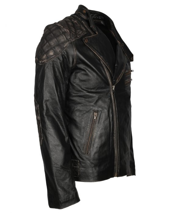 Black Leather Skull Motorcycle Jacket