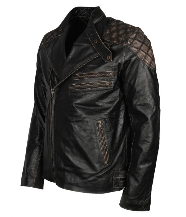 Black Skull Leather Jacket mens