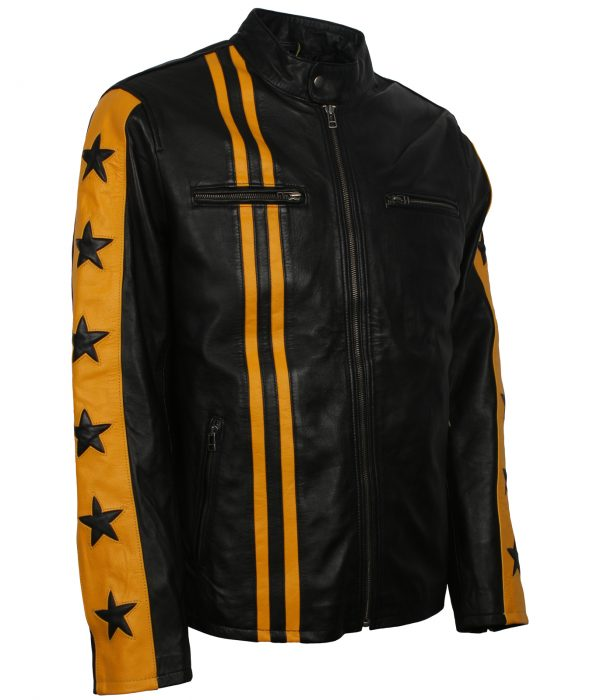 Black and Yellow Striped Leather Jacket