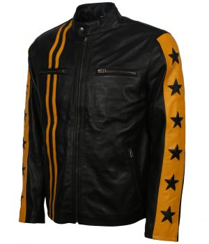 Black Yellow Striped Leather Biker Jacket