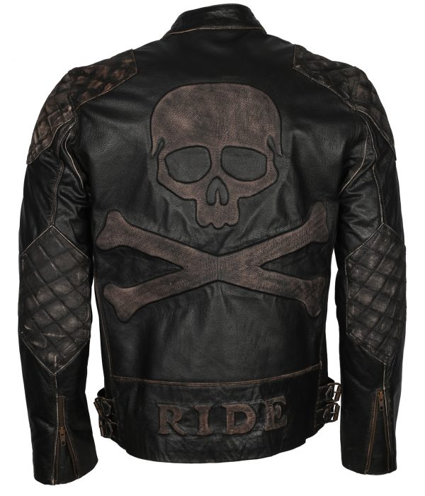 Skull Leather Jacket Mens Motorcycle Enthusiasts