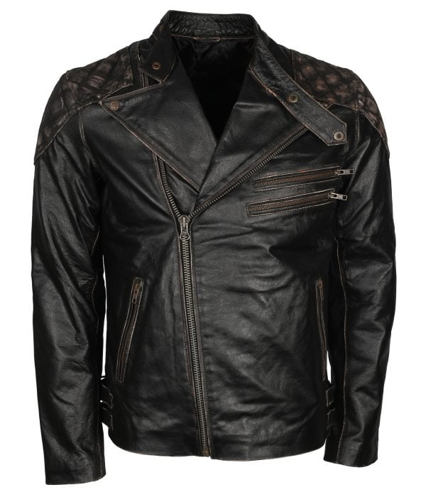 Skull Leather Jacket Mens for Bikers