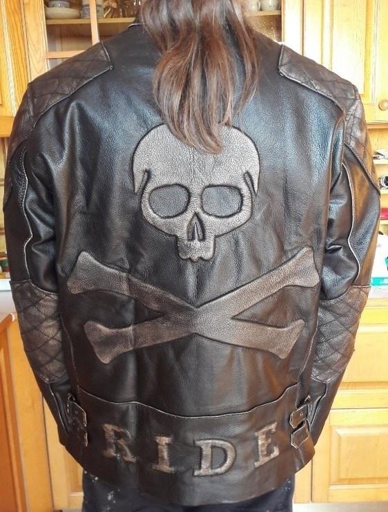 Skull Leather Motorcycle Jacket Mens