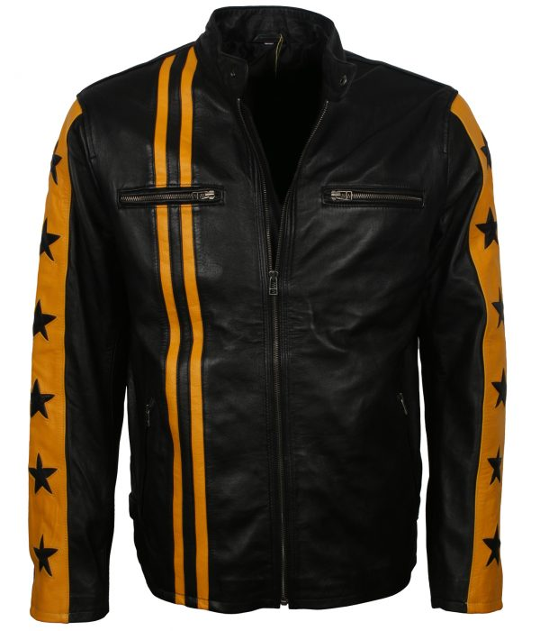 Black and Yellow Leather Jacket
