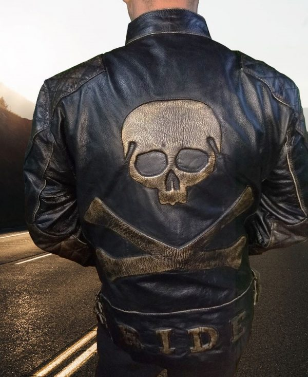 Skull and Crossbones Leather Biker Jacket