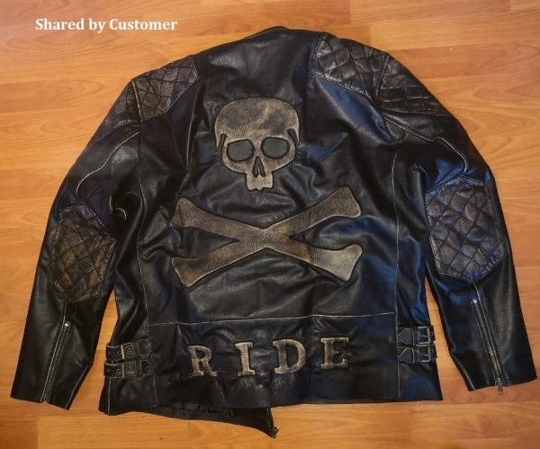 skull and crossbones black leather motorrad jacket
