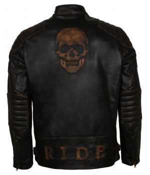 Biker Skull Leather Jacket Mens