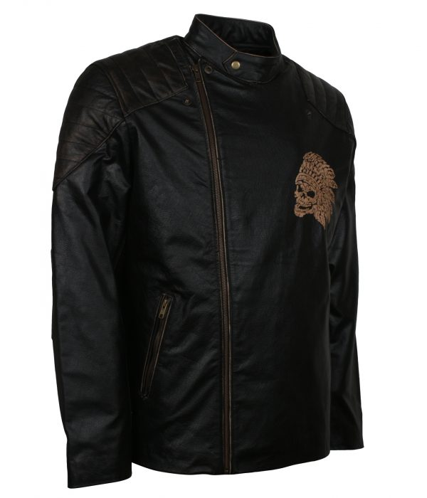 Black Ride Biker Motorcycle Chief Skull Engraved Leather Jacket