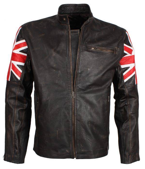 British Flag Union Jack Brown Distressed Original Leather Biker Jacket