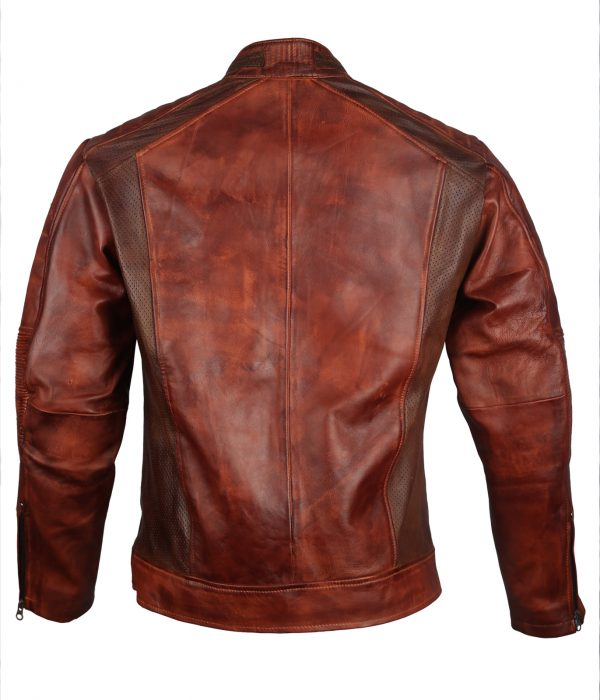 Brown Waxed Men's Genuine Leather costume Jacket