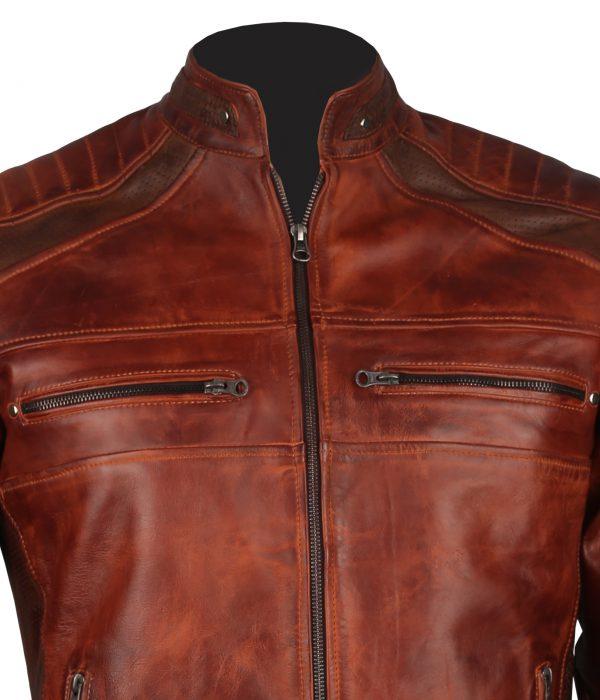 Cafe Racer Men Vintage Biker Leather Jacket