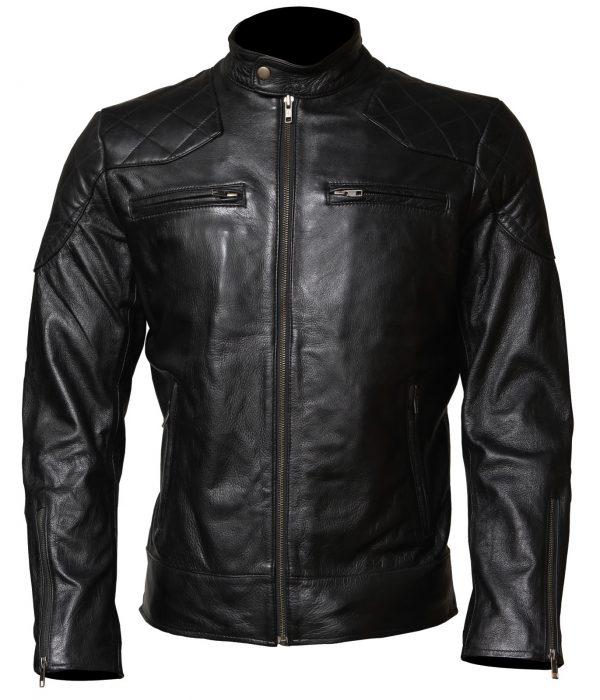 David Beckham Leather Jacket Mens Biker