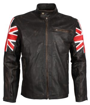 Distressed UK Flag Men's Brown Leather Jacket