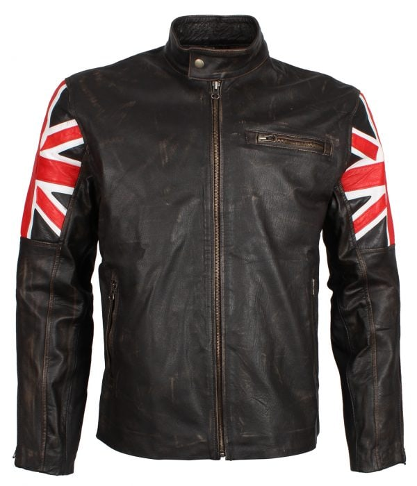 Distressed UK Flag Men's Brown Leather Jacket