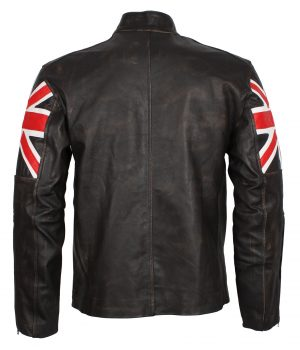 Distressed Union Jack Men's Brown Leather Jacket