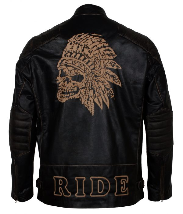 Laser Engraved Chief Skull Ride Leather Motorcycle Jacket