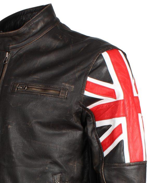 Men's Brown UK flag Leather Jacket