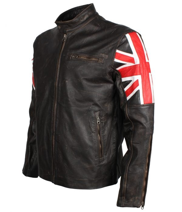 Men's Brown Union Jack British Flag Distressed Leather Jacket