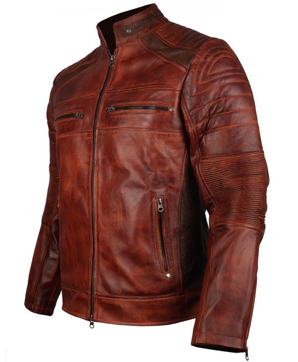 Cafe Racer Men's Brown Distressed Leather Jackettage Biker Leather Jacket
