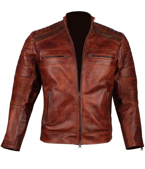 Mens Brown Leather Jacket Cafe Racer