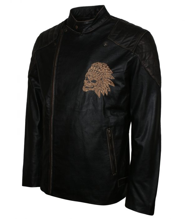Red Indian Skull Black Leather Jacket