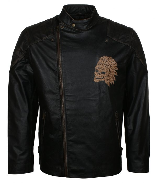 Skull With Indian Headdress Biker Leather Jacket