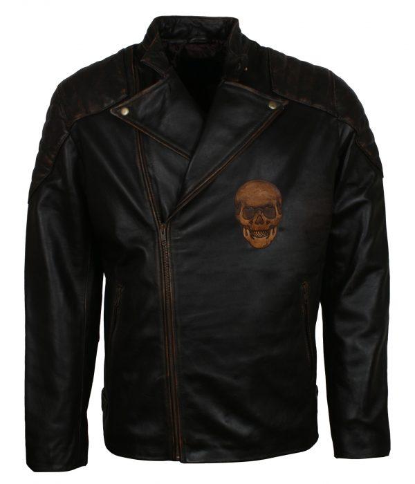 Skull Black Leather Moto Jacket