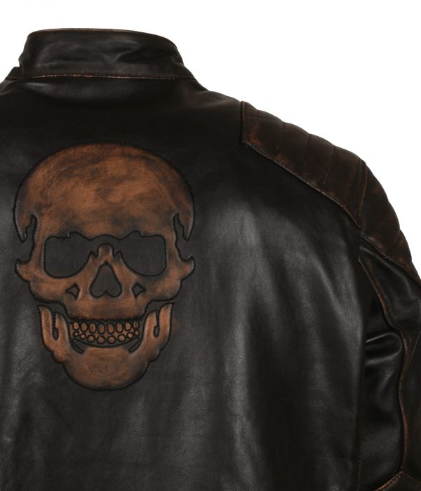 Skull Embossed Leather Motorcycle Jacket