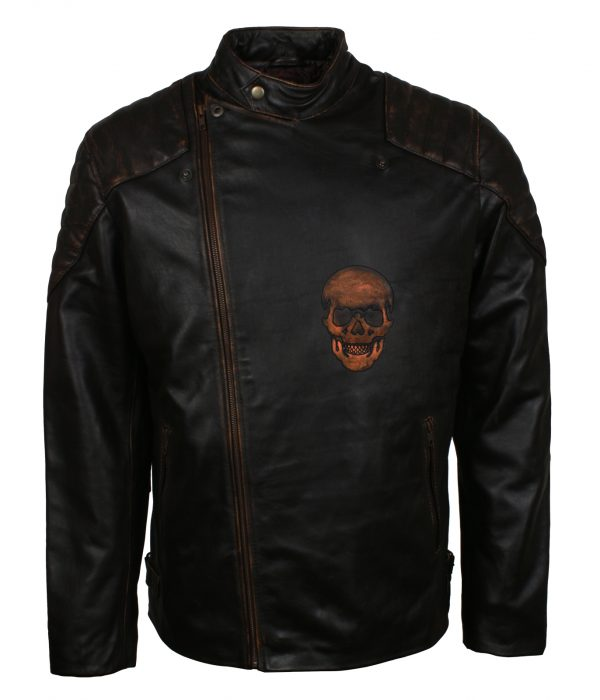 Skull Motorcycle Leather Jacket Mens