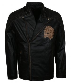 Skull With Indian Headdress Biker Leather Jacket