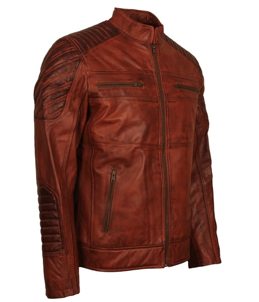 Mens Brown Leather Jacket Biker in Leather