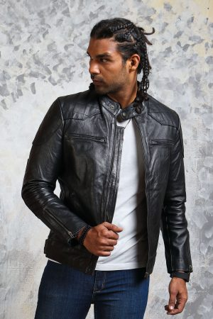 David Deckham Leather Winter Jacket Mens