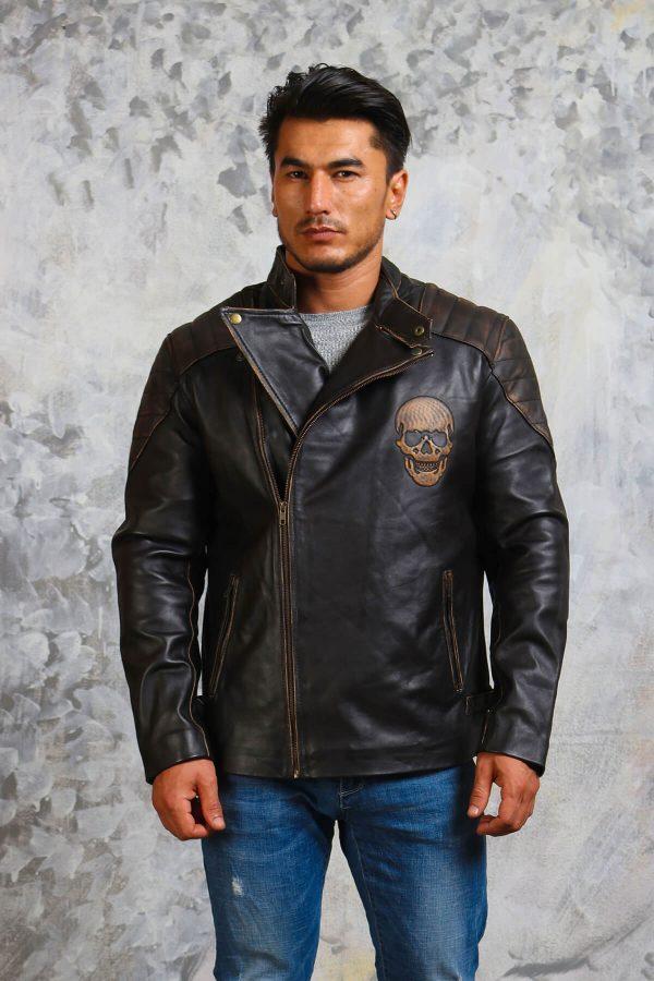 Biker Skull Leather Jacket Mens