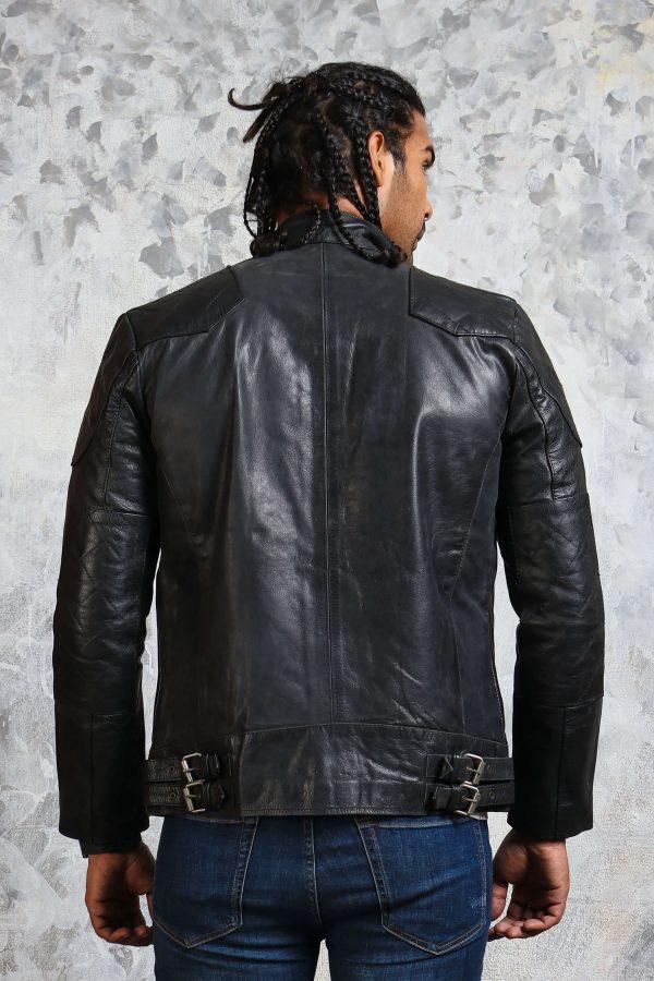 Black Belted Leather Jacket Men