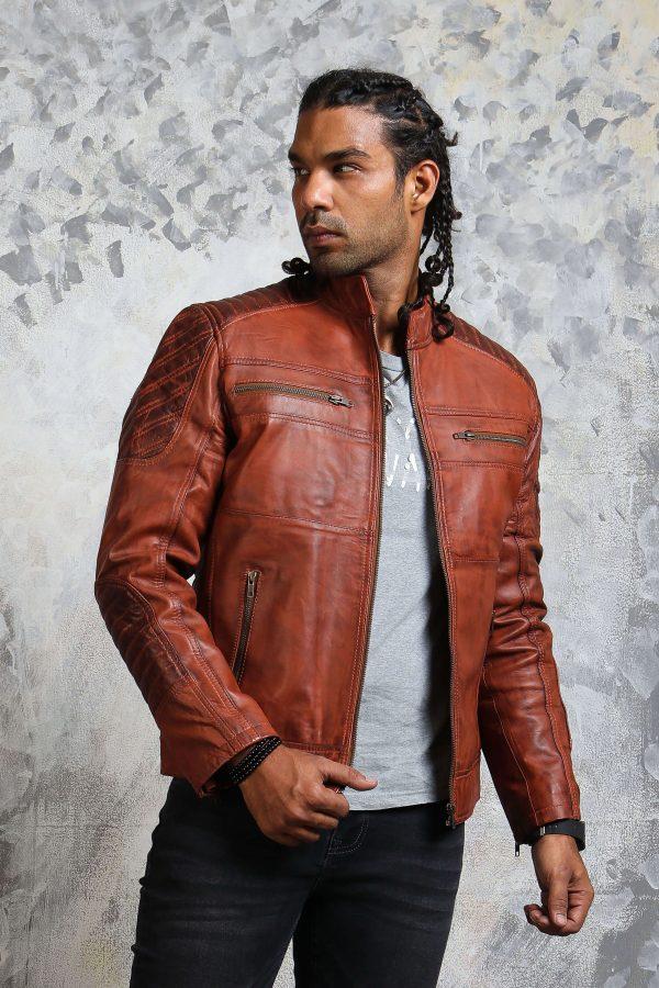 Brown Leather Biker Jacket Men