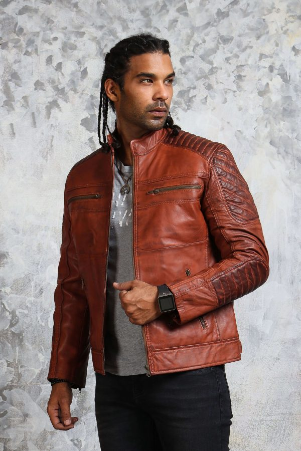 Brown Leather Winter Jacket Mens
