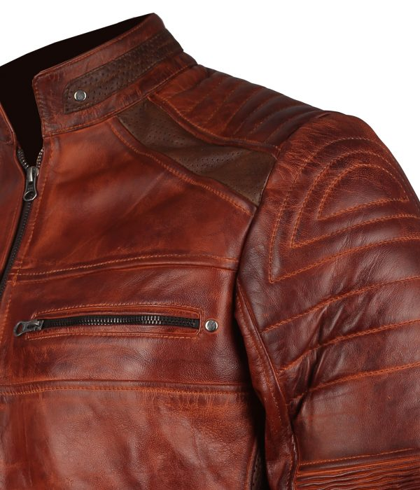 cafe racer disstressed leather motorcycle jacket