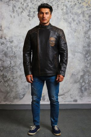 Mens Biker Skull Leather Jacket