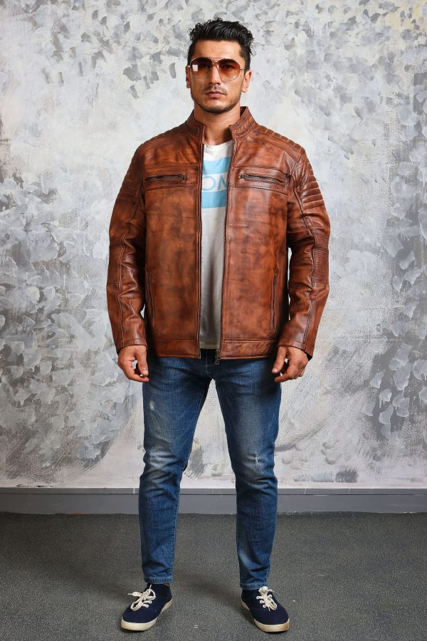 Mens brown leather jacket caferacer