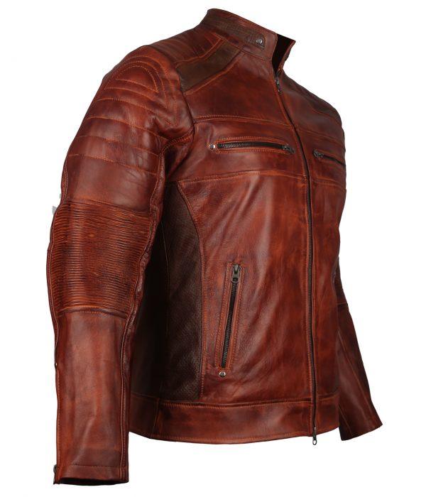 Cafe Racer Mens Brown Leather Jacket