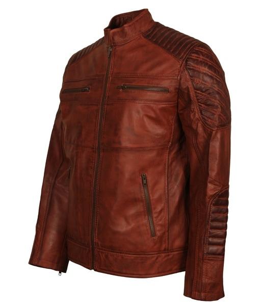 Brown Distressed Leather Jacket Men