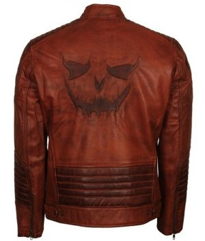 Killing Joke Mens Brown Leather Jacket