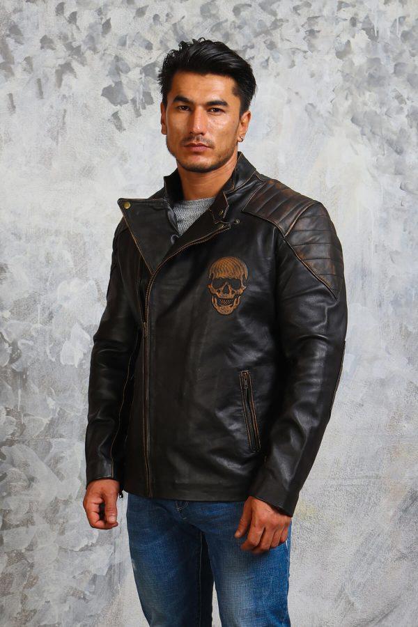 Skull Leather Jacket Mens Fashion