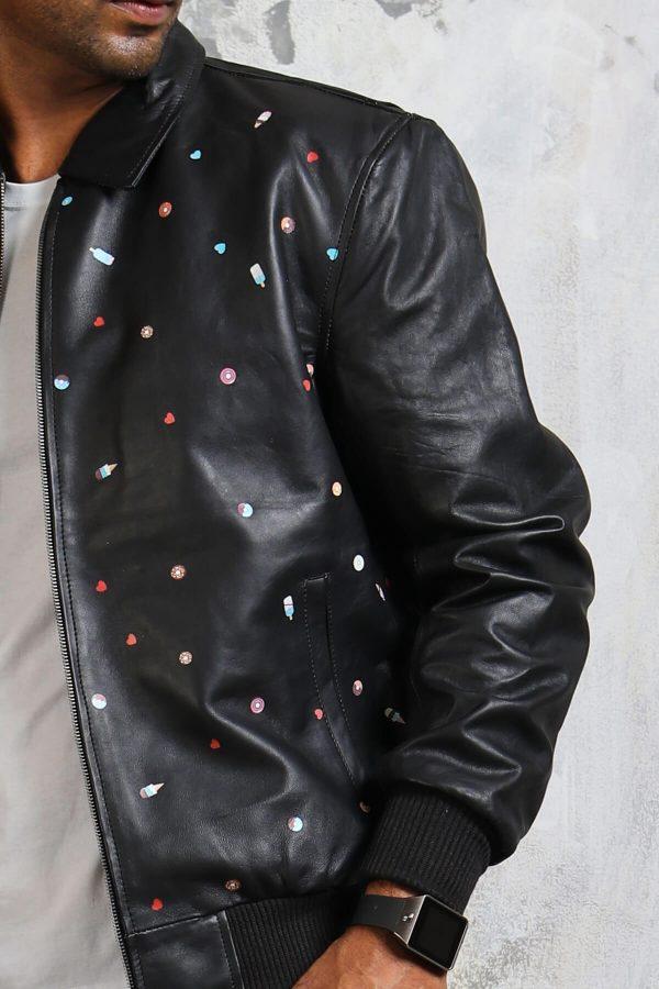 Black bomber jacket leather men