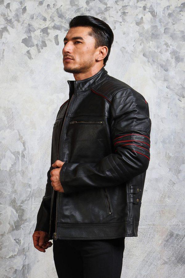 Mens biker black leather jacket