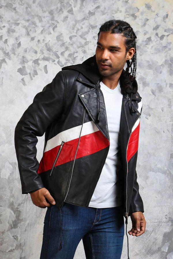 Black leather jacket with hood