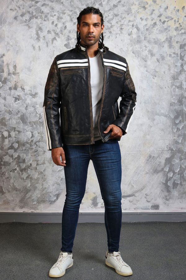 black and white striped jacket in leather