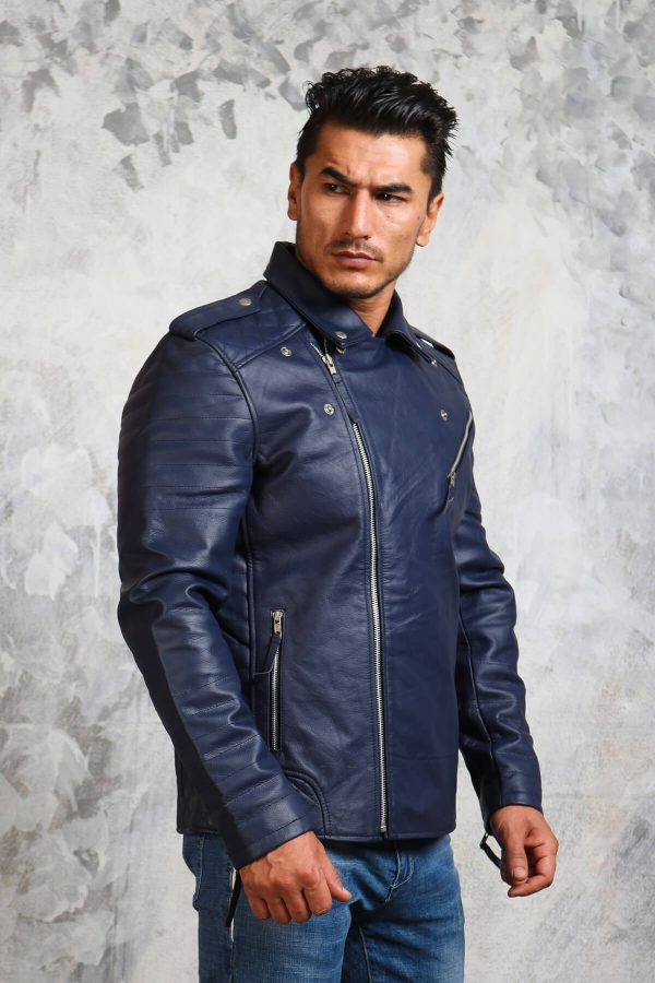 blue leather jacket mens biker