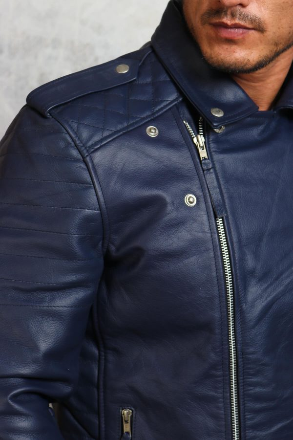 blue leather motorcyle jacket